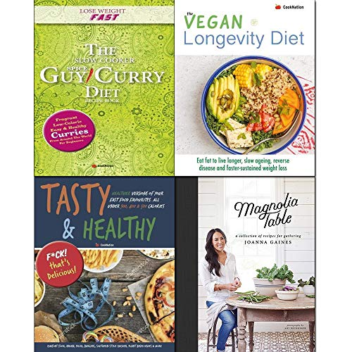 Book cover from Magnolia Table [hardcover], Tasty & Healthy, Slow Cooker Spice-Guy Curry Diet Recipe Book, The Vegan Longevity Diet 4 Books Collection Set. by Joanna Gaines