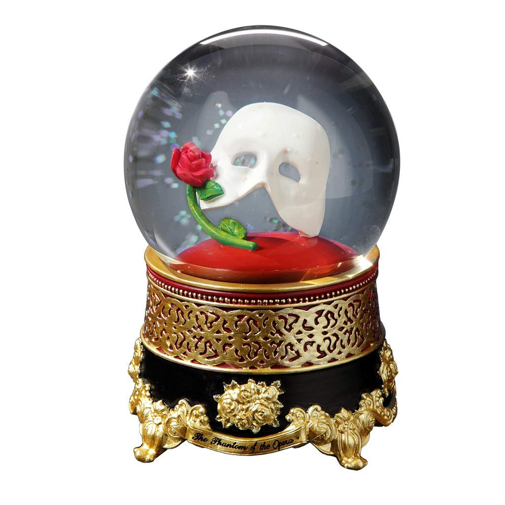 The San Francisco Music Box Company Phantom of The Opera Classic Mask with Rose Water Globe by The San Francisco Music Box Company