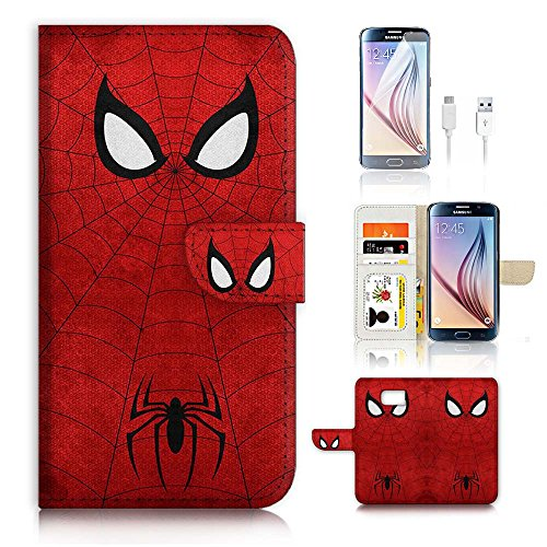 Samsung Galaxy S7 Flip Wallet Case Cover & Screen Protector & Charging Cable Bundle! A20073 Spiderman Super Hero