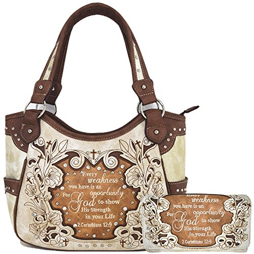 Wallets Womens Western - Embroidered Bible Verse 2 Corinthians 12:9 Purse Scripture Western Handbag Women Shoulder Bags Wallet Set (Beige/Brown)