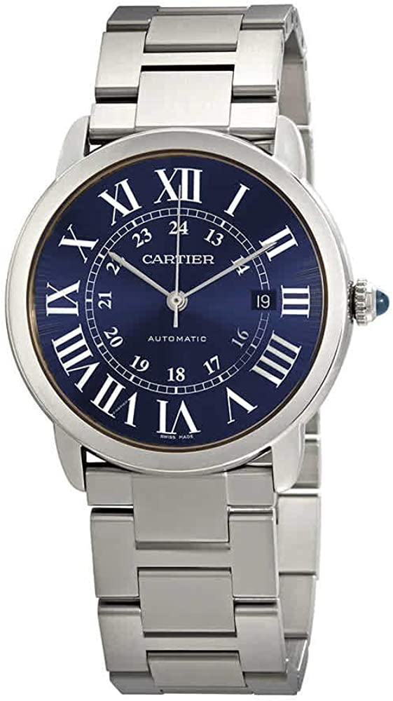 Cartier Ronde Solo reloj automático de los hombres de esfera azul WSRN0023