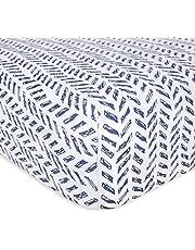 Burt's Bees Baby - Bee Essentials Stripe Crib Sheet, 100% Organic Crib Sheet for Standard Crib and Toddler Mattresses (Blossom)