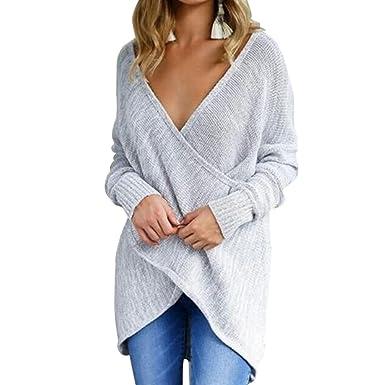 Top Femme Haut Femme Chic Sexy Sweater Col V Croisé en Tricot Pull Automne  Hiver Mode 8fd7c9d26bf3