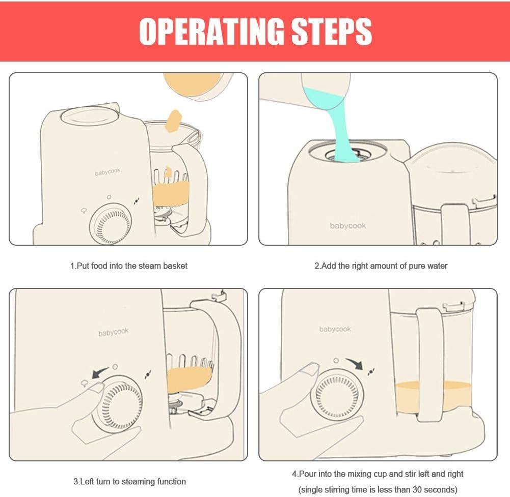Baby Nahrung Mixer Automatische Induktion Babynahrungszubereiter Dampfgaren Und Mixen Schonends Dampfgaren Mixen Sterilisieren Auftauen Aufw/ärmen Multifunktionen K/üchenmaschine