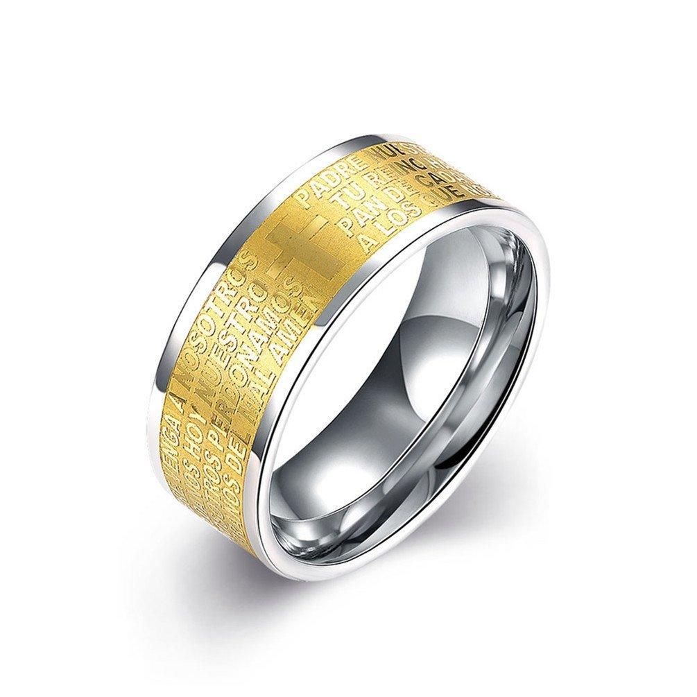 HMILYDYK 8 mm, de acero inoxidable oro Letterring Cruz Boda Banda Anillo, tamaño de 7 a 10, para mujeres hombres: Amazon.es: Joyería