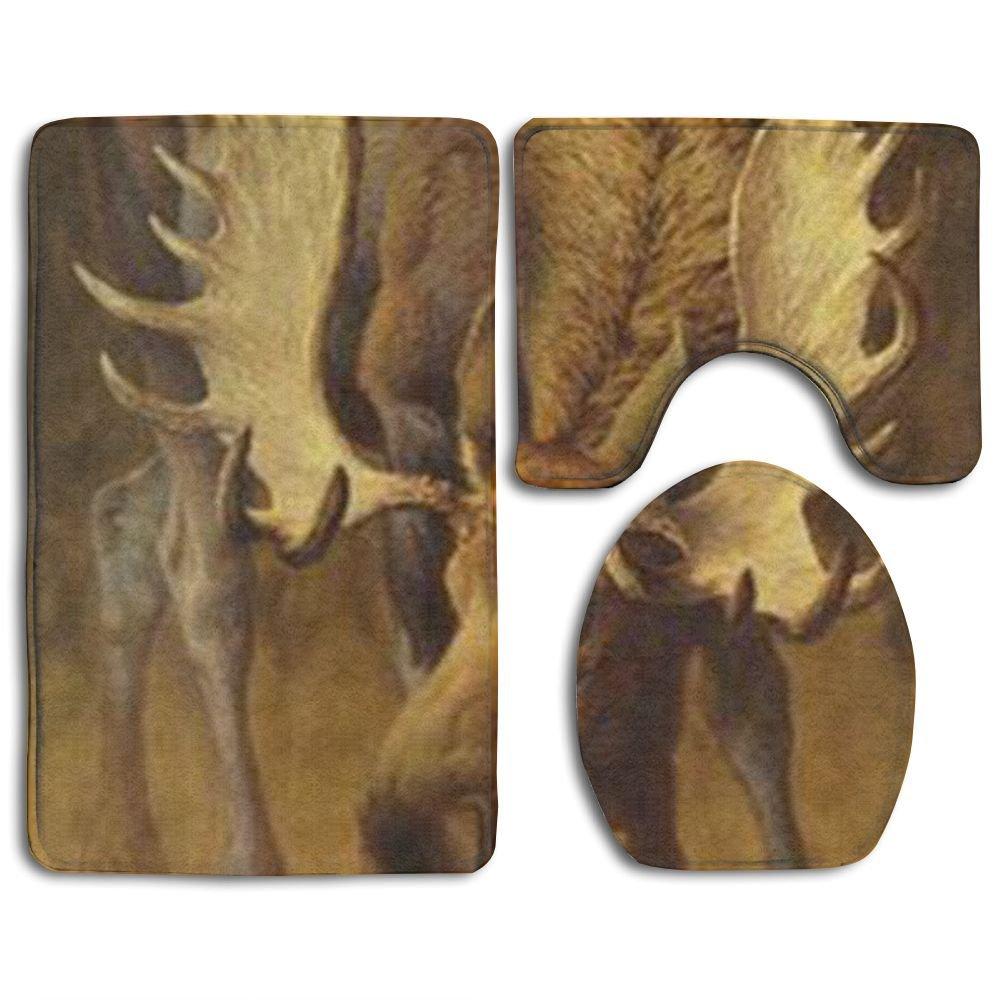 Moose Bath Rug: Buffalo Plaid Moose Comfort Bathroom Rugs Set Super