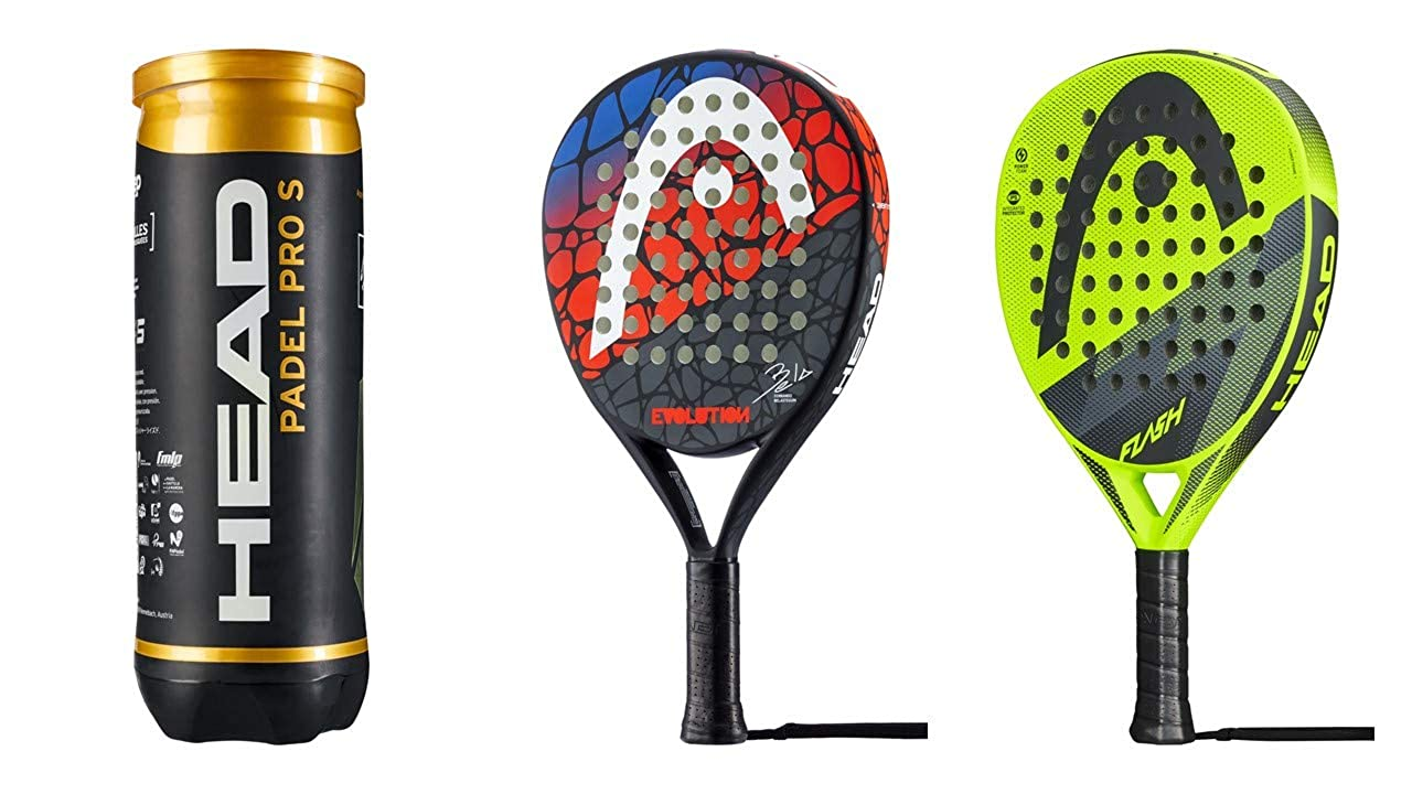 Head Padel Schläger Set Evolution & Flash 3 Padel Bälle Pro S ...