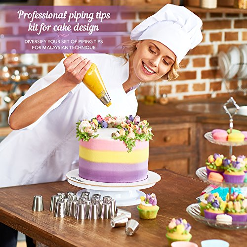 Russian Piping Tips - Cake Decorating Supplies - 39 Baking Supplies Set - 23 Icing Nozzles - 15 Pastry Disposable Bags & Coupler - Extra Large Decoration Kit - Best Kitchen Gift by Braviloni (Image #2)