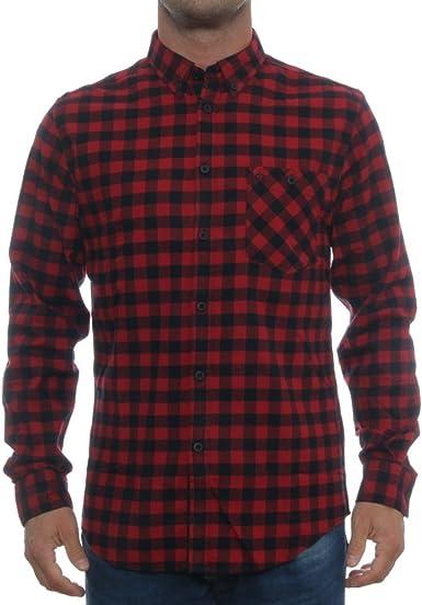Merc Camisa Foxhill Mens Rojo Negro Manga Larga, diseño a Cuadros: Amazon.es: Ropa y accesorios