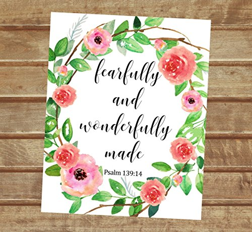 """Fearfully and Wonderfully Made, Psalm 139:14- Inspirational Quote Art Print, Floral Wreath Wall Art, Unframed Print, 8""""x10"""" Art Print, Nursery Art Print, Bible Verse Wall Art - P522"""