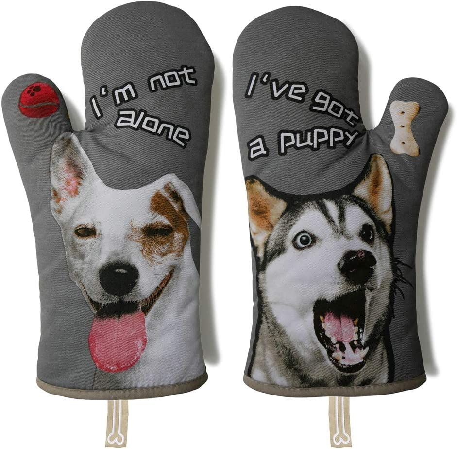 "GREVY Cotton Oven Mitts Heat Resistant Baking Glove 100% Cotton Lining 13""(Cute Dog,Potholder Kitchen Gloves) (Gray)"