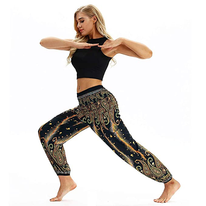 SamMoSon Damen Leggings Yoga Hosen Pants Yogahose Jogginghose Sport Leggins  Hose Fitness Traininghose Sporthose Lose Laufhose 6796fbac21