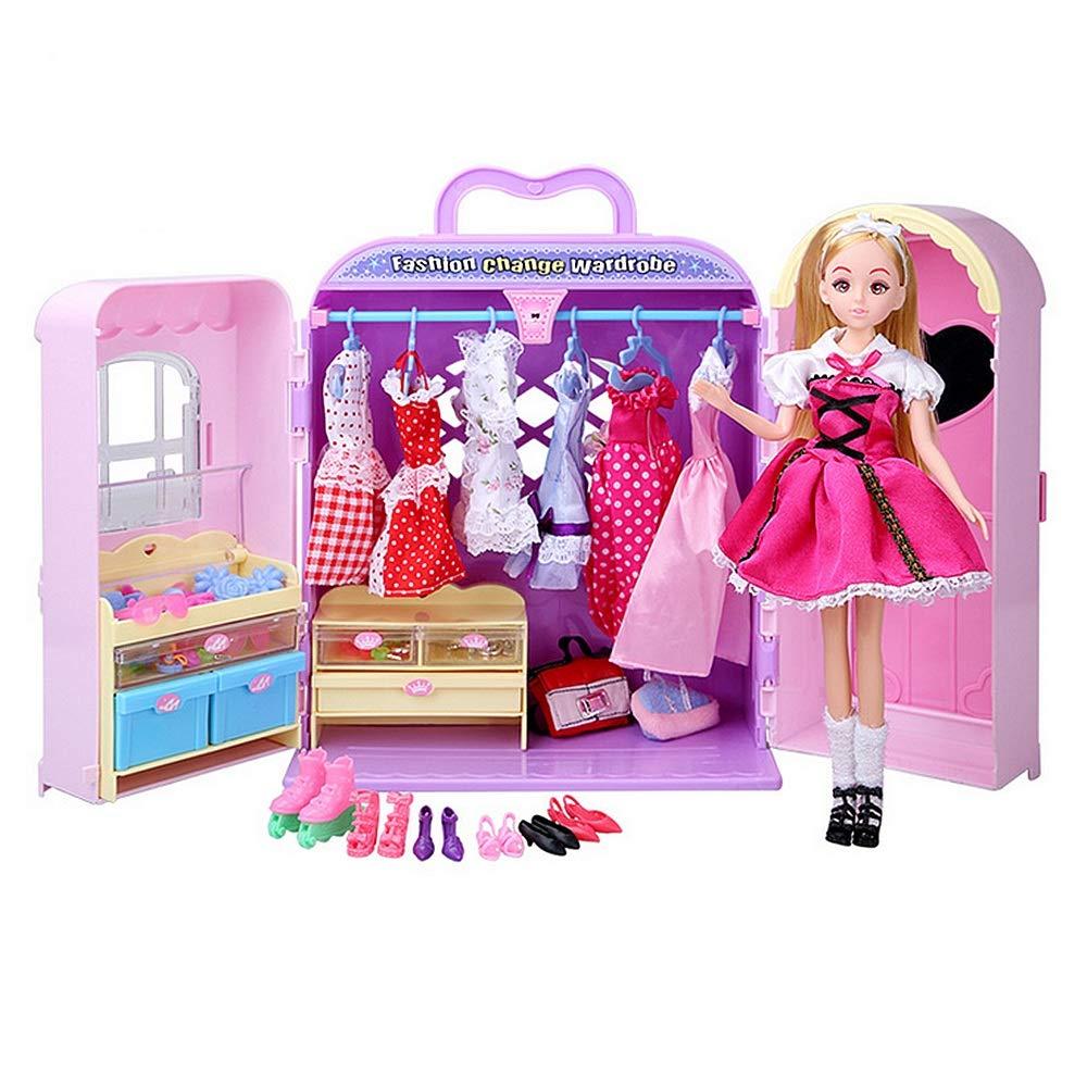 UiophjklホームDIY玩具ワードローブ食器棚プリンセス家具化粧靴バッグファッションとアクセサリーパーティードレスボールガウンバービー人形木のおもちゃDIY   B07LGZ8D2M