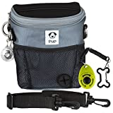 Large Reflective Dog Walking Training Treat Bag w/ Clicker Trainer and Safety Collar Light for Night Dog Walks - Built-in Poop Bag Dispenser - Carries Phone, Balls for Dogs, Treats - 3 Ways To Wear