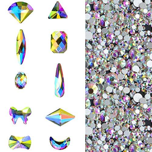 1500 PCS 3D Art Nail Flatback Rhinestones Clear Crytals AB Round and Mixed Shapes DIY Crafts -