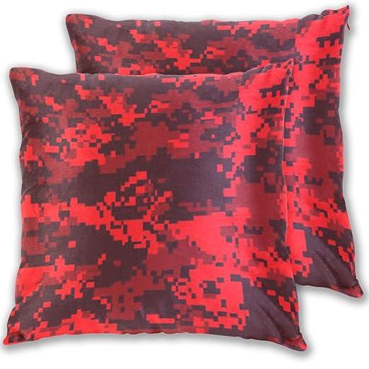 COOLACOLOR Mosaico Speckle Rojo Camuflaje Fundas de Almohada ...