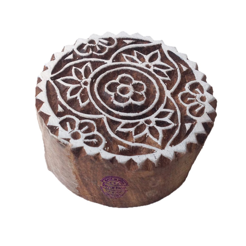 DIY Henna Fabric Textile Paper Clay Pottery Block Printing Stamp Intricate Print Stamps Spiral Round Motif Wood Blocks