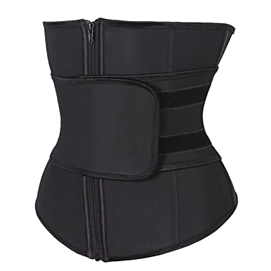 f5b4bb4db7b73 KIWI RATA Abdominal Belt High Compression Zipper Neoprene Waist Trainer  Cincher Corset Body Fajas Sweat Black