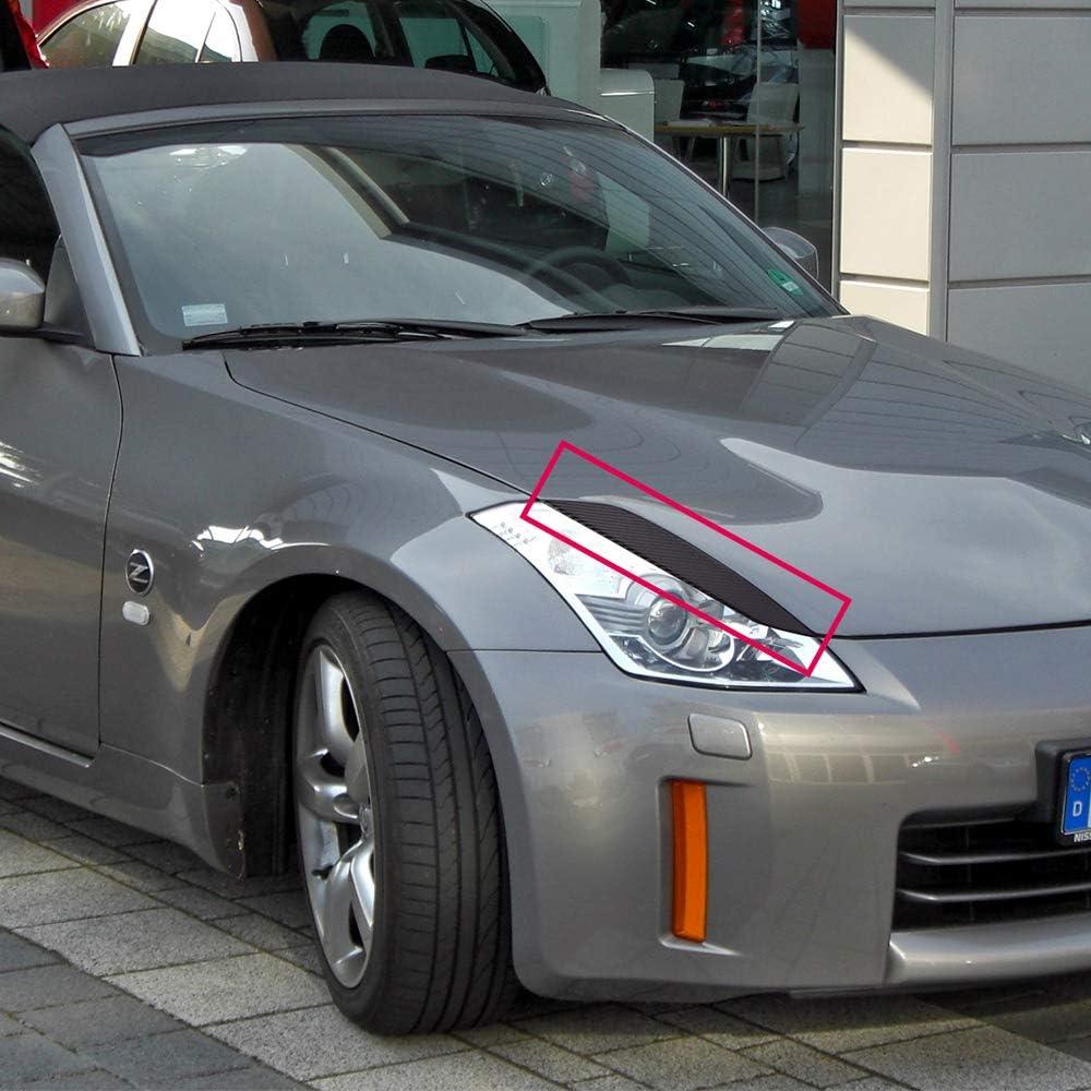 Right Headlight Eyelids Cover Trim for Nissan 350Z Fairlady Z33 2003-2008 2004 2005 2006 2007 Speedmotor Black Carbon Fiber Left