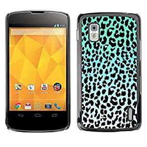 PC/Aluminum Funda Carcasa protectora para LG Google Nexus 4 E960 leopard pattern blue black white green / JUSTGO PHONE PROTECTOR