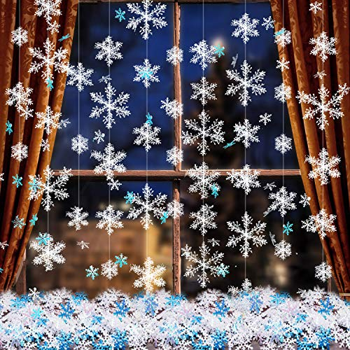 (Boao 663 Pieces Christmas Snowflake Ornaments, 600 Snowflakes Confetti and 63 White Christmas Hanging Snowflake Garland for Winter Wonderland Xmas Party Decoration Supplies)