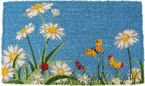 Entryways One Summer Day Handmade, Hand-Stenciled, All-Natural Coconut Fiber Coir Doormat 18 X 30 x .75