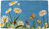 Entryways One Summer Day Handmade, Hand-Stenciled, All-Natural Coconut Fiber Coir Doormat 18'' X 30'' x .75''