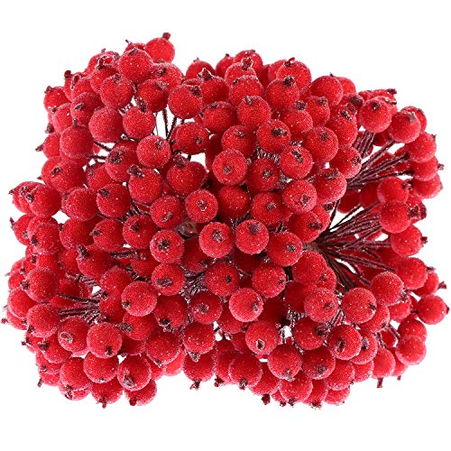 Tatuo Artificial Frosted Holly Berries Fake 12 mm Mini Christmas Fruit Berry Flower Decor (Red, 400)