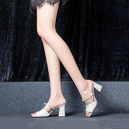 Da Scarpe Stagione EU Pantofole 5 tacco 6 Bianca Di Donna col Altezza 37 UK Semplicità Scarpe Alti Cm dimensioni DALL 4 Scarpe Estiva Tacchi Spiaggia Colore 5 Da 5 Sandali Verde Elegante CN37 8qwd4Xnx7