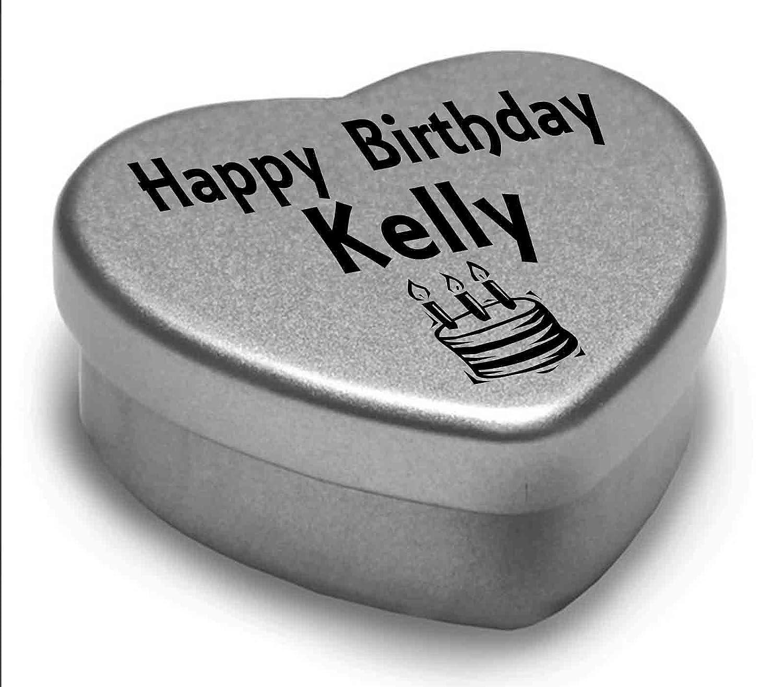 Happy Birthday Kelly Mini Heart Tin Gift Present For Kelly WIth Chocolates