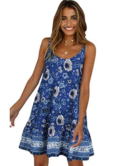 c5c1a8fcd56f CINDYLOVER Mini Dress for Women Casual Beach Sundresses Floral Printed  Round Neck Skirt