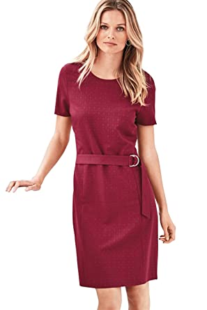 Womens Belted Workwear Shift Dress Vestido Para Mujer Rosa