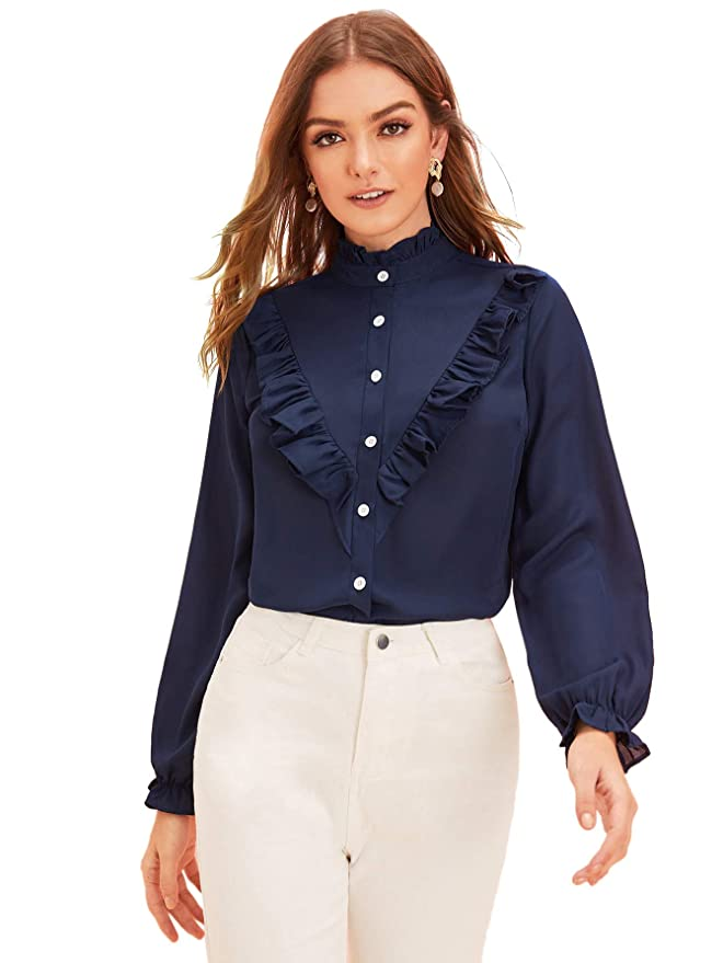 Vintage Tops & Retro Shirts, Halter Tops, Blouses Verdusa Womens Frill Trim Button Up Mock Neck Bishop Sleeve Blouse $6.99 AT vintagedancer.com