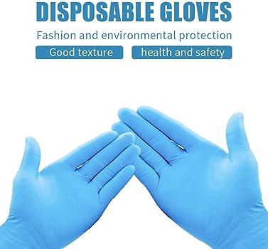 SUNSHIN 100 Piezas//Set Anti Virus Bacterias Guantes Desechables Suministros de Goma NBR Guante de la Limpieza de Limpieza,L