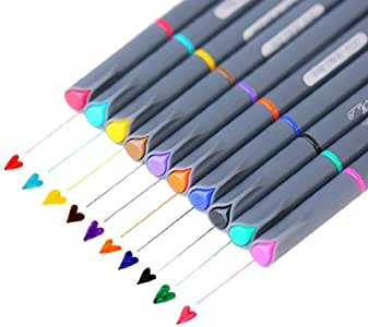 NABLUE Fineliner Coloured Pen Set,0.38mm Fine Line Colored Drawing Pen, Pack of 10 Assorted Colors For Coloring Book Art Supply, Bullet Journaling,Bleed Resistant Water Based Ink and Note Taking