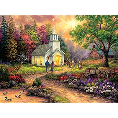 Country Church (Oversized pcs) 1000 pc Jigsaw Puzzle by SunsOut: Toys & Games