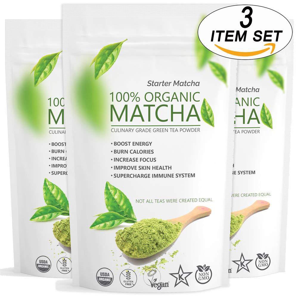 Starter Matcha Green Tea Powder 3x12oz   USDA Organic   Vegan   GMO-Free   Matcha for Baking   Latte   Smoothie   Cookies   Ice Cream