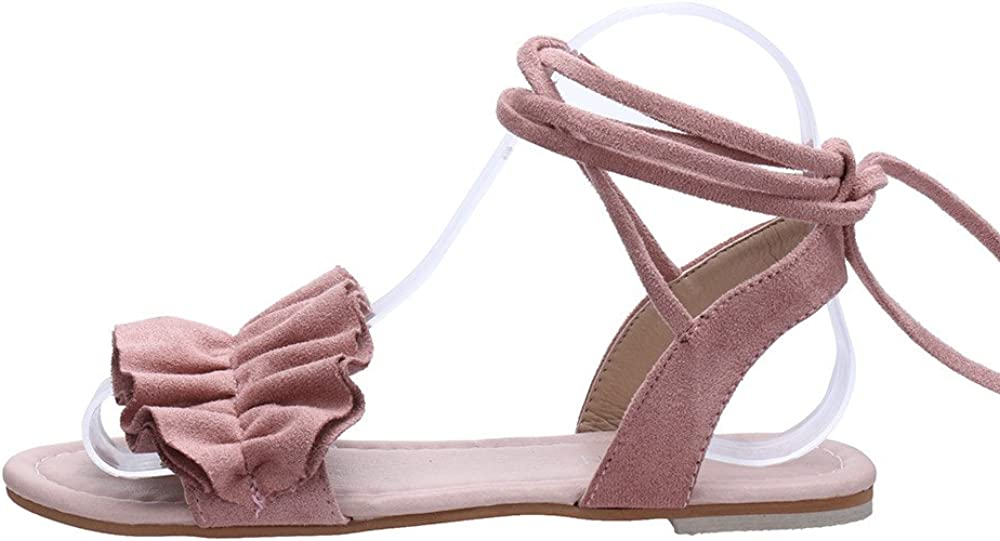 Suma-ma Womens Solid Color Ruffles Round Toe Sandal Flat Heel Cross Tied Sandals Bandage Roman Shoes