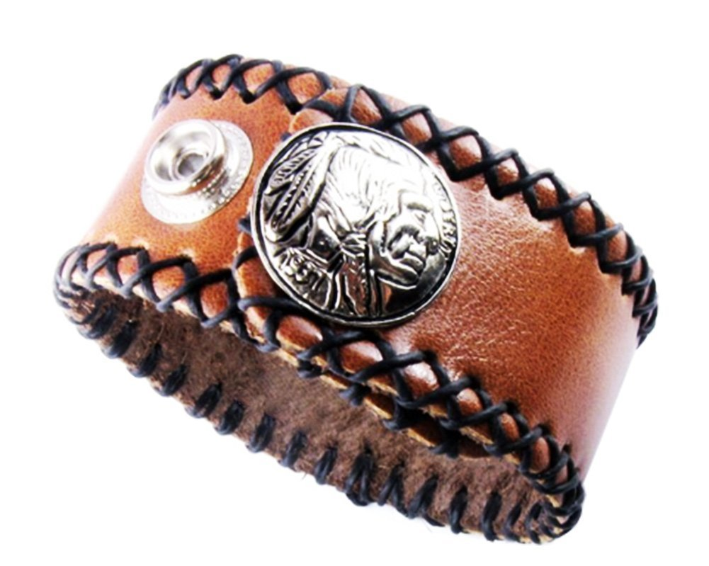 D'SHARK 1'' Wide Indian Head Design Biker Leather Bangle Bracelet Cuff Wristband for Unisex - (Brown)
