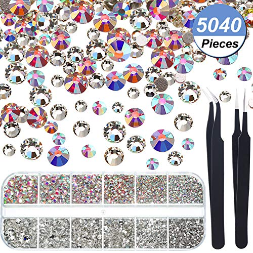 Crystal Glass Charms - Crystals Nail Art Rhinestones Round Beads Flatback Glass Charms Gems Stones and 2 Pieces Tweezers with Storage Organizer Box, SS3 6 10 12 16 20, 288 Pieces Each Size (5040 Pieces Crystal AB, Clear)