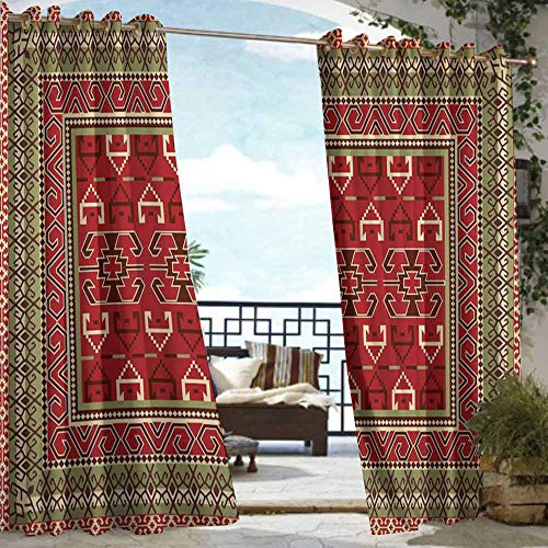 (DILITECK Outdoor Curtains Turkish Pattern Rectangular Frames and Abstract Shapes with Ottoman Origins Great for Living Rooms & Bedrooms W72 xL96 Ruby Pistachio Green Brown)