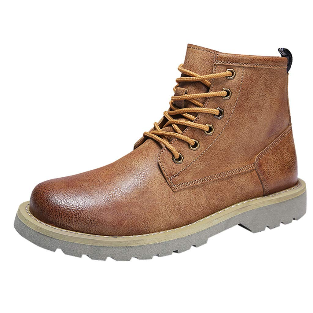 Men's Chukka Boot Lace-Up High Top Leather Cowboy Boots Ankle Casual Comfortable Ankle Chukka Shoes (Khaki, 8.5) by Meiliwanju