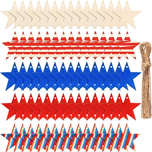 (75 Pieces 4th of July Wood Stars Slices Wooden Stars Craft Hanging Star Decorations for DIY Home Decoration)