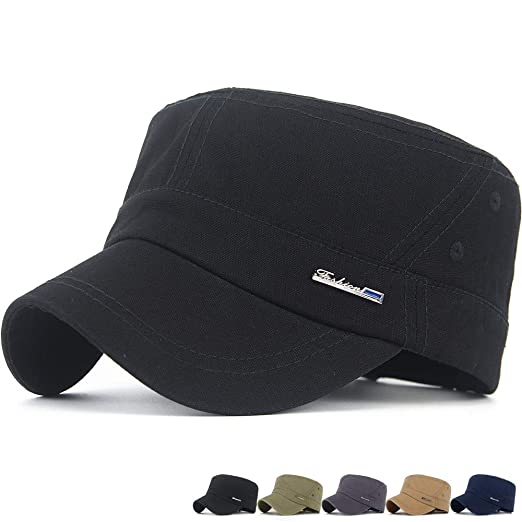 2824b55c9 Rayna Fashion Mens Womens Washed Cotton Army Cadet Cap Canvas Military Hat  Flat Top Caps Various Style