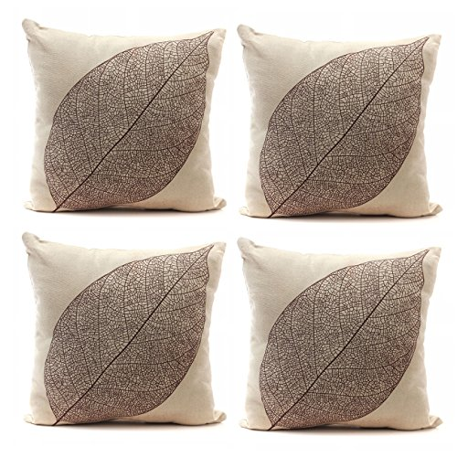 Luxbon Set of 4Pcs Stylish Simplicity Leave Design Cotton Linen Sofa Couch Chair Throw Pillowcases Cushion Covers 18