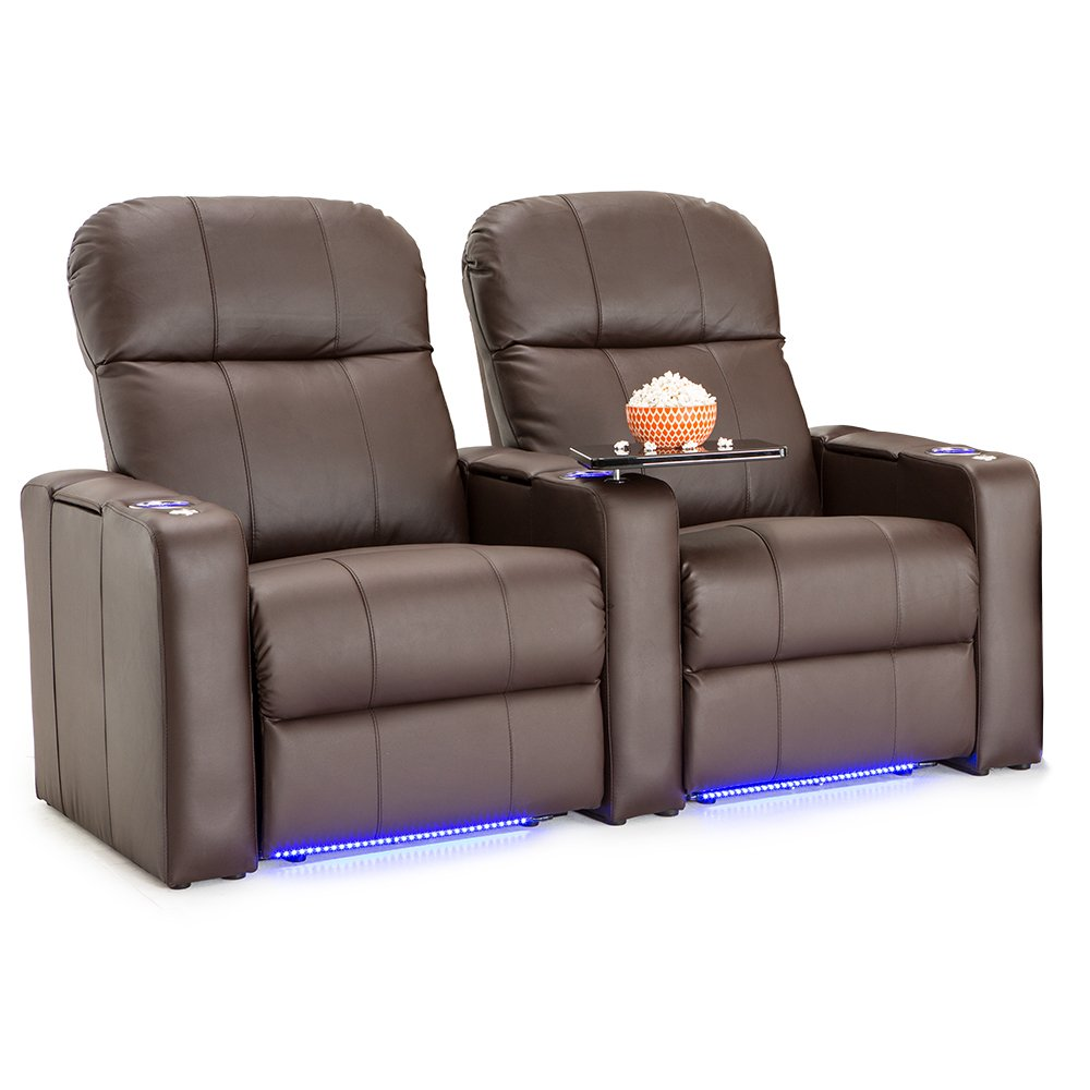 Seatcraft Venetian Leather Home Theater Seating - Power Recline (Row of 2, Brown) by Seatcraft