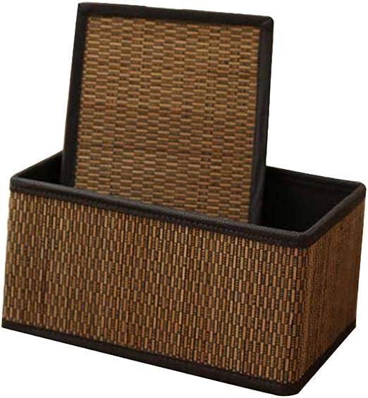 MAHFEI-Cesta De Almacenamiento Caja De Almacenaje Snacks Ropa Juguete Bambú con asa Hecho A Mano Liso Alta Capacidad Se Puede Doblar Armario, 4 Tamaños (Color : Brown, Size : 36x26x20cm): Amazon.es: Hogar