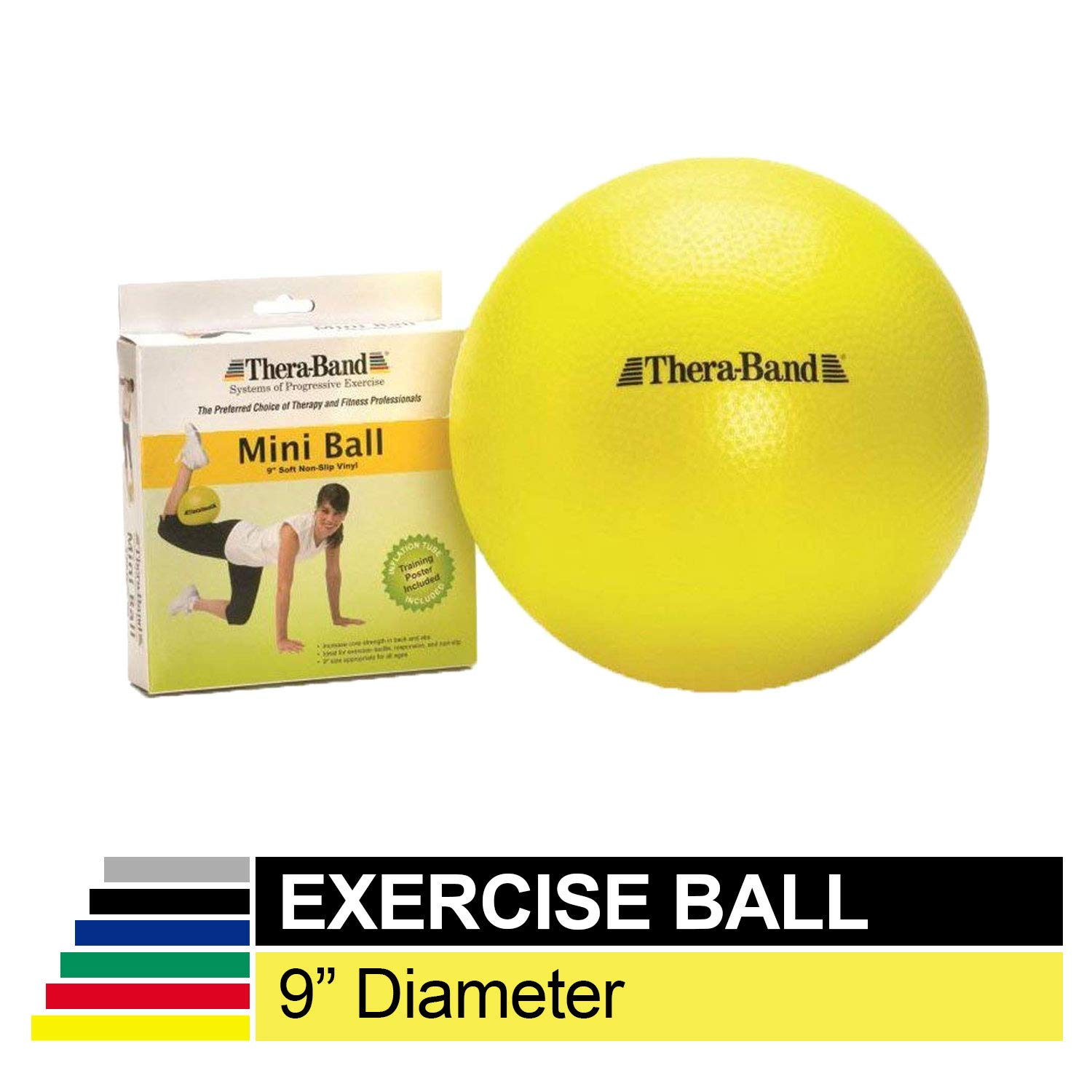 TheraBand Mini Ball, Small Exercise Ball for Yoga, Pilates, Abdominal Workouts, Shoulder Therapy, Core Strengthening, At-Home Gym & Physical Therapy Tool by TheraBand