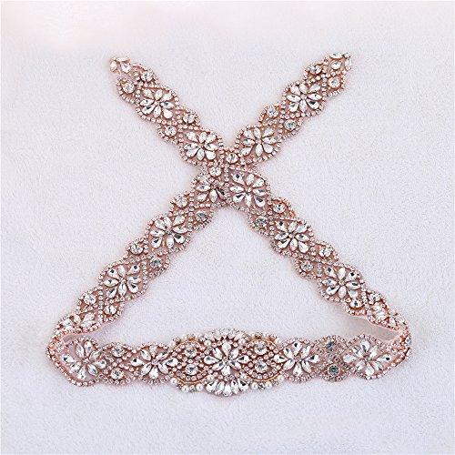 (34.2 Inches) Beaded Rhinestone Trims Rose Gold Bridal Sash Belt Crystal Applique Bridal Applique for Wedding Gown Belt Evening Dresses (RA -