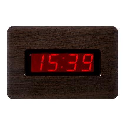 KWANWA Reloj de Pared Digital con Pilas Pantalla Grande Alarma Snooze Compatible con el Dormitorio,